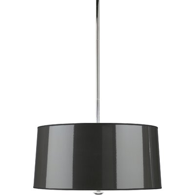 Penelope 3-Light Drum Pendant Finish: Polished Nickel with Black Shade