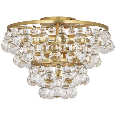 Bling 2-Light Flush Mount Fixture Finish: Antique Brass