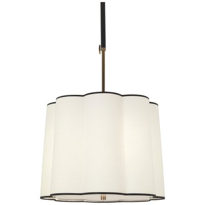 Axis 3-Light Mini Pendant Finish: Aged Natural Brass, Shade Color: Scalloped Fondine Fabric