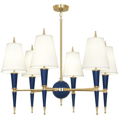 Jonathan Adler Versailles 6-Light Candle-Style Chandelier Finish: Navy Lacquered Paint, Shade Color: Modern Brass/Fondine Fabric