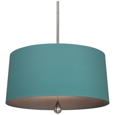 Williamsburg Custis 3-Light Drum Pendant Shade Color: Mayo Teal Fabric