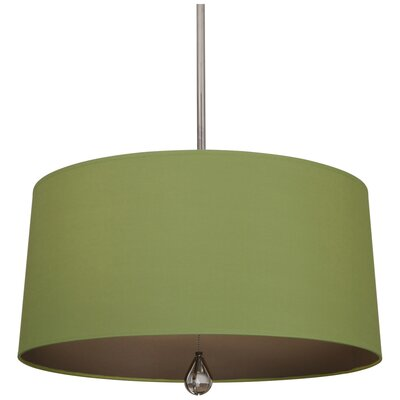 Williamsburg Custis 3-Light Drum Pendant Shade Color: Parrot Green Fabric