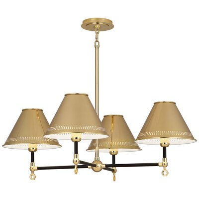 Jonathan Adler St. Germain 4-Light Candle-Style Chandelier Finish: Satin Black, Shade Color: Polished Brass