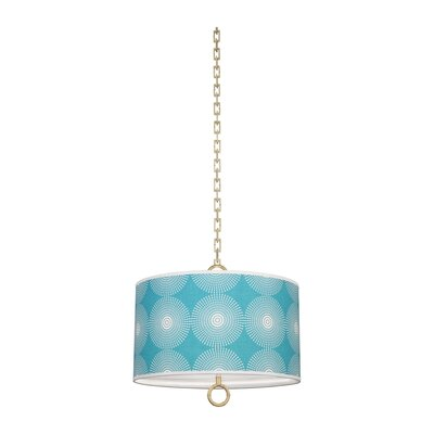 Jonathan Adler Meurice 2-Light Drum Pendant Finish: Antique Brass, Shade Color: Supernova Teal Printed, Size: 15.75 H x 18 W x 18 D