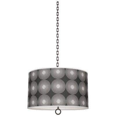 Jonathan Adler Meurice 2-Light Drum Pendant Finish: Deep Patina Bronze, Shade Color: Supernova Noir Printed, Size: 21 H x 25 W x 25 D