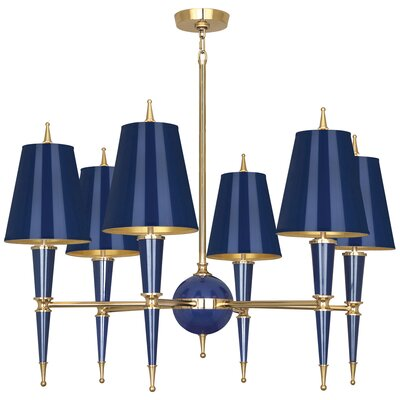 Jonathan Adler Versailles 6-Light Candle-Style Chandelier Finish: Navy Lacquered Paint/Matte Gold Lining, Shade Color: Modern Brass/Navy Opaque Parchment
