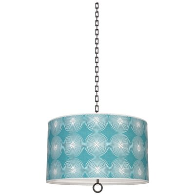 Jonathan Adler Meurice 2-Light Drum Pendant Finish: Deep Patina Bronze, Shade Color: Supernova Teal Printed, Size: 21 H x 25 W x 25 D