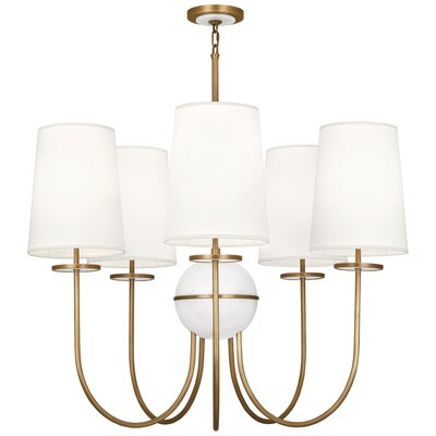 Fineas 5-Light Candle-Style Chandelier Finish: Aged Brass/Alabaster Stone, Shade Color: Fondine