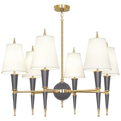 Jonathan Adler Versailles 6-Light Candle-Style Chandelier Finish: Ash Lacquered Paint, Shade Color: Modern Brass/Fondine Fabric