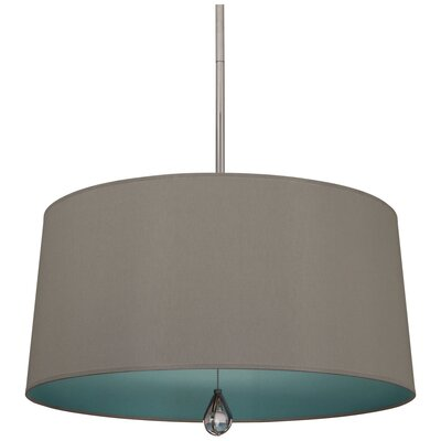 Williamsburg Custis 3-Light Drum Pendant Shade Color: Carter Gray Fabric