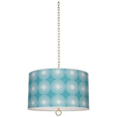 Jonathan Adler Meurice 2-Light Drum Pendant Finish: Modern Brass, Shade Color: Supernova Teal Printed, Size: 21 H x 25 W x 25 D