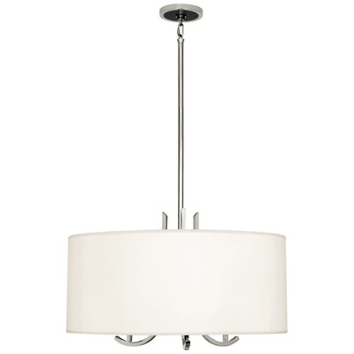 Francesco 3-Light Drum Pendant Finish: Polished Nickel, Shade Color: Pearl Dupoini