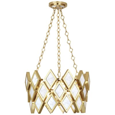 Edward 3-Light Geometric Pendant Finish: Modern Brass/White Marble