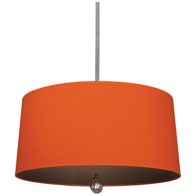 Williamsburg Custis 3-Light Drum Pendant Shade Color: William of Orange Fabric