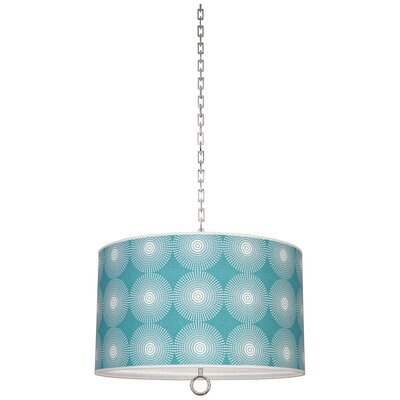 Jonathan Adler Meurice 2-Light Drum Pendant Finish: Polished Nickel, Shade Color: Supernova Teal Printed, Size: 21 H x 25 W x 25 D