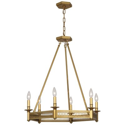 Williamsburg Tucker 6-Light Candle-Style Chandelier Finish: Antique Brass