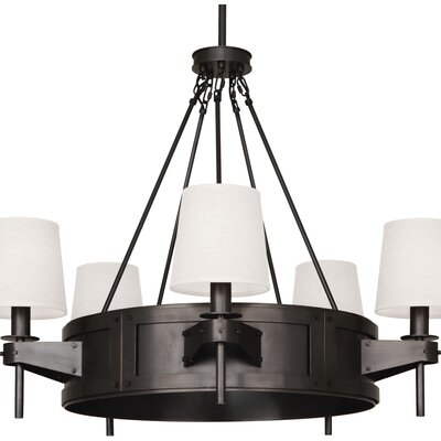 Rico Espinet Caspian 5-Light Drum Chandelier Shade Color: Oyster Linen