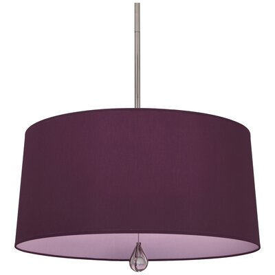 Williamsburg Custis 3-Light Drum Pendant Shade Color: Greenhow Grape Fabric