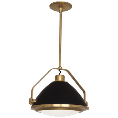 Apollo 1-Light Inverted Pendant Finish: Antique Brass/Matte Black, Size: 16 H x 21.75 W x 18.5 D