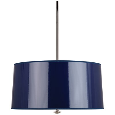 Penelope 3-Light Drum Pendant Shade Color: Navy Ceramik Parchment