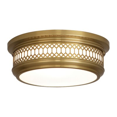 Williamsburg Tucker 2-Light Flushmount Fixture Finish: Antique Brass
