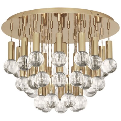 Jonathan Adler Milano 1-Light Flush Mount Fixture Finish: Polished Brass