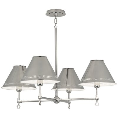 Jonathan Adler St. Germain 4-Light Candle-Style Chandelier Finish: Polished Nickel, Shade Color: Polished Nickel