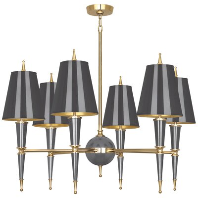 Jonathan Adler Versailles 6-Light Candle-Style Chandelier Finish: Ash Lacquered Paint/Matte Gold Lining, Shade Color: Antique Brass/Natural Linen