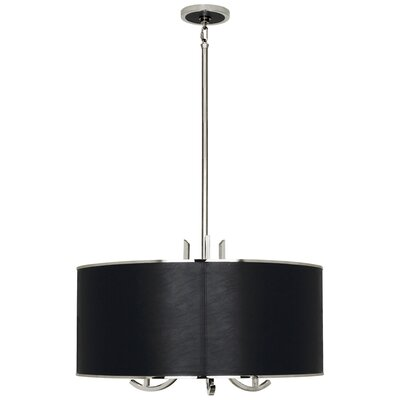 Francesco 3-Light Drum Pendant Finish: Polished Nickel/Black Leather, Shade Color: Black Leather