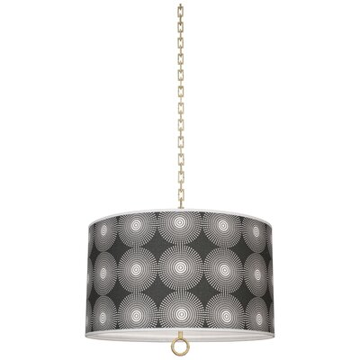 Jonathan Adler Meurice 2-Light Drum Pendant Finish: Modern Brass, Shade Color: Supernova Noir Printed, Size: 21 H x 25 W x 25 D