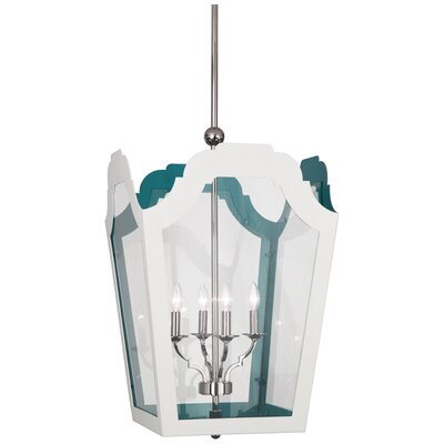 Williamsburg Tayloe 4-Light Lantern Pendant Finish: White/Turquoise