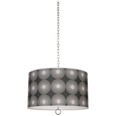 Jonathan Adler Meurice 2-Light Drum Pendant Finish: Polished Nickel, Shade Color: Supernova Noir Printed, Size: 21 H x 25 W x 25 D