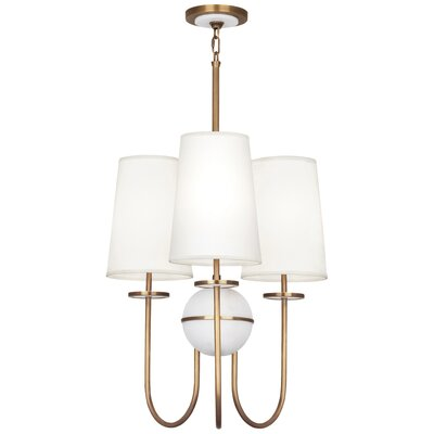 Fineas 3-Light Drum Chandelier Finish: Aged Brass/Alabaster Stone, Shade Color: Fondine