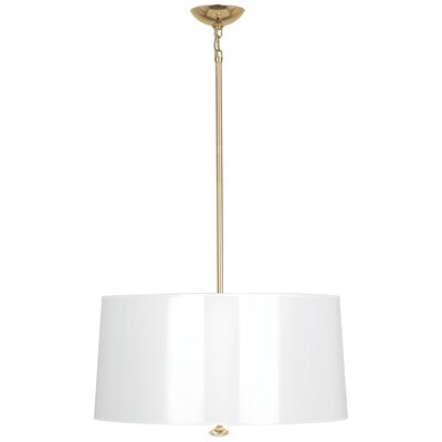 Penelope 3-Light Drum Pendant Shade Color: White Ceramik Parchment