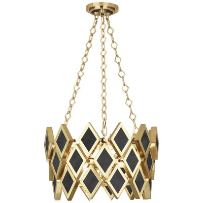 Edward 3-Light Geometric Pendant Finish: Modern Brass/Black Marble