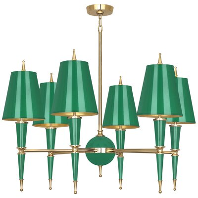 Jonathan Adler Versailles 6-Light Candle-Style Chandelier Finish: Emerald Lacquered Paint/Matte Gold Lining, Shade Color: Modern Brass/Emerald Opaque Parchment