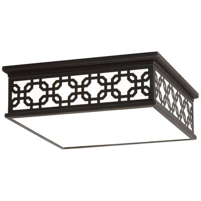 Williamsburg Dickinson 2-Light Flush Mount Fixture Finish: Deep Patina Bronze