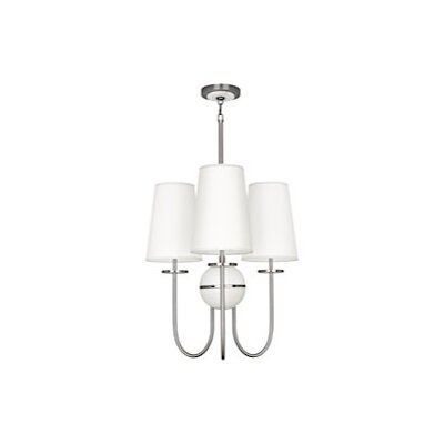 Fineas 3-Light Chandelier Finish: Dark Antique Nickel, Shade Color: Ascot White
