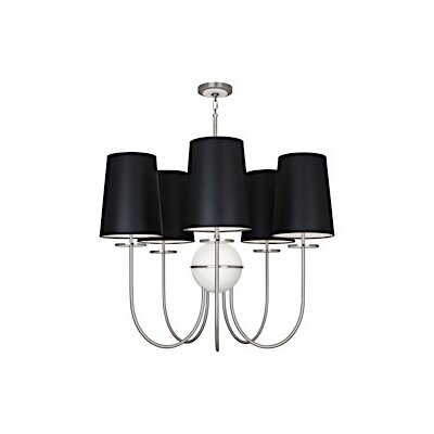 Fineas 5-Light Candle-Style Chandelier Shade Color: Black Opaque