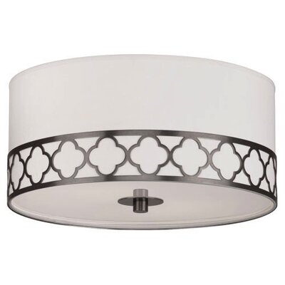 Addison Round 2-Light Flush Mount Fixture Finish: Patina Nickel