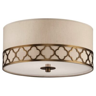 Addison Round 2-Light Flush Mount Fixture Finish: Weathered Brass
