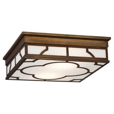 Addison Square 2-Light Flush Mount Fixture Finish: Weathered Brass