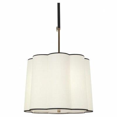 Axis 3-Light Mini Pendant Finish: Aged Natural Brass, Shade Color: Scalloped Fondine Fabric