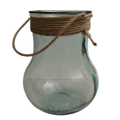 Nautical Vase/lantern clear with rope top. 10 Tall Size: 10 H x 7 W x 7 D