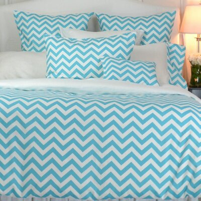 Zig Zag Reversible Duvet Cover Size: Full, Color: White / Blue