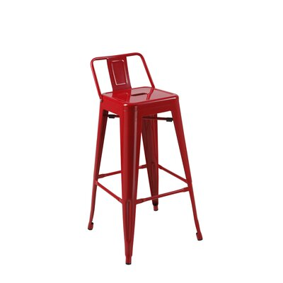 Deitch 30 Bar Stool (Set of 4) Finish: Red