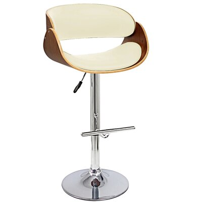 Adjustable Height Bar Stool Upholstery: Ivory