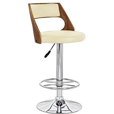 Adjustable Height Swivel Bar Stool Upholstery: Ivory