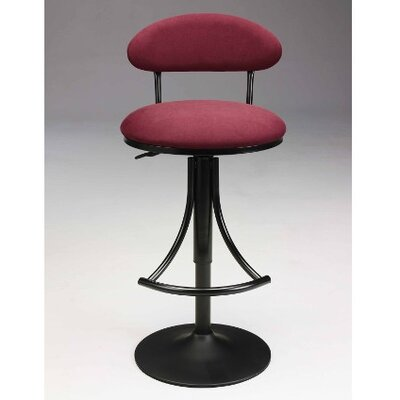 Adjustable Height Swivel Bar Stool Upholstery: Black-Red