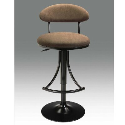 Adjustable Height Swivel Bar Stool Upholstery: Black-Brown